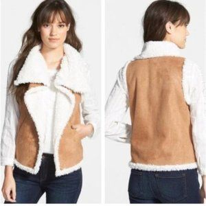 Hinge Sherpa Lined Shearling Vest Brown Size XS